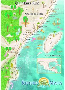 Karte Map Riviera Maya Cavern Cave Grotte